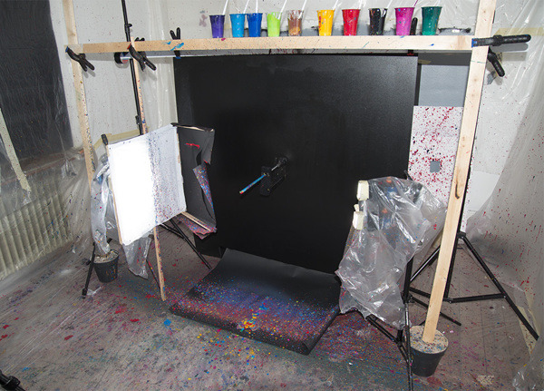 "myampgoesto11:  Fabian Oefner: Black Hole- Paint in motion  ""Black Hole"" is a series of images, which shows paint modeled by centripetal force. The setup is very simple: Various shades of acrylic paint are dripped onto a metallic rod, which is connected to a drill. When switched on, the paint starts to move away from the rod, creating these amazing looking structures. The motion of the paint happens in a blink of an eye, the images you see are taken only millisecond after the drill was turned on. To capture the moment, where the paint forms that distinctive shape, I connected a sensor to the drill, which sends an impulse to the flashes. These specialized units are capable of creating flashes as short as a 1/40000 of a second, freezing the motion of the paint. There is a short video of how the images were created at the bottom of the page.  watch the video"