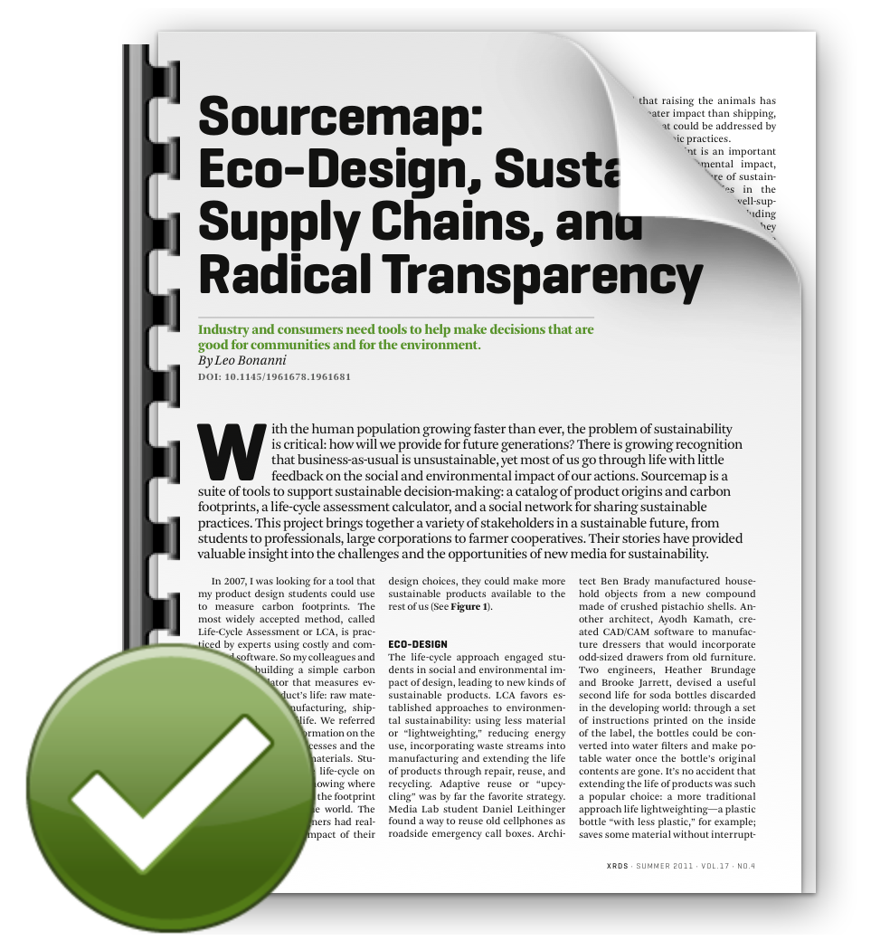 This is the first article I wrote about Sourcemap after my PhD thesis, and does the job of explaining the original vision in a much easier-to-read format.