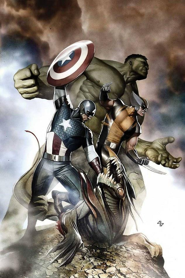 This is the variant cover for Avengers #3, drawn by Adi Granov.