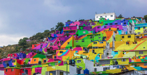 itscolossal:  Street Artists Collaborate with Mexican Government to Bring Vibrant Splash of Color to an Entire Neighborhood