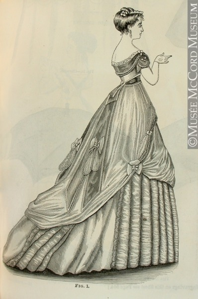 Godey's evening dress, Feb. 1868