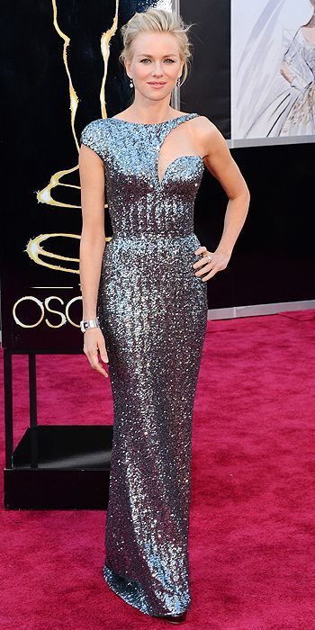 Naomi Watts at the 85th Annual Academy Awards This is one of my favorite dresses of the night - I love the head-to-toe metallic, and the crazy neckline totally works on her.