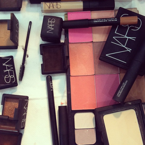 It's Nars heaven backstage at Rodarte! Photographed by Lauren Drago