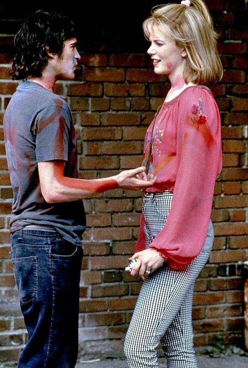 Joaquin Phoenix and Nicole Kidman on the set of To Die For [1995].
