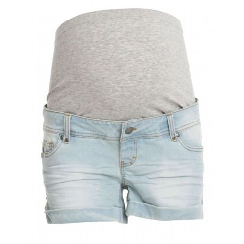Maternity Shorts in Pale Denim Wash Trunk Short   ❤ liked on Polyvore