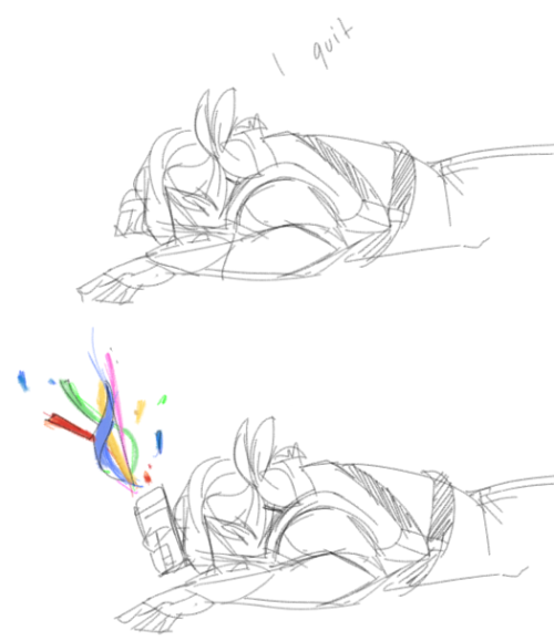 pocketfell:  in which aydin quits (based off this reaction draw)