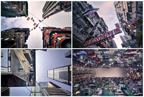 thedailywhat:  A New Perspective of the Day: Hong Kong's Vertical Horizon French photographer Romain Jacquet-Lagrèze's latest project Vertical Horizon takes a refreshing look at the vertical horizon of Hong Kong, the city where renowned architects from around the world compete to build the tallest and most beautiful buildings. According to Jacquet-Lagrèze, his project aims to remind people to look up at the structures shaping the world around them.  Hong Kong from the bottom up. I love these creative cityscape travel photography.