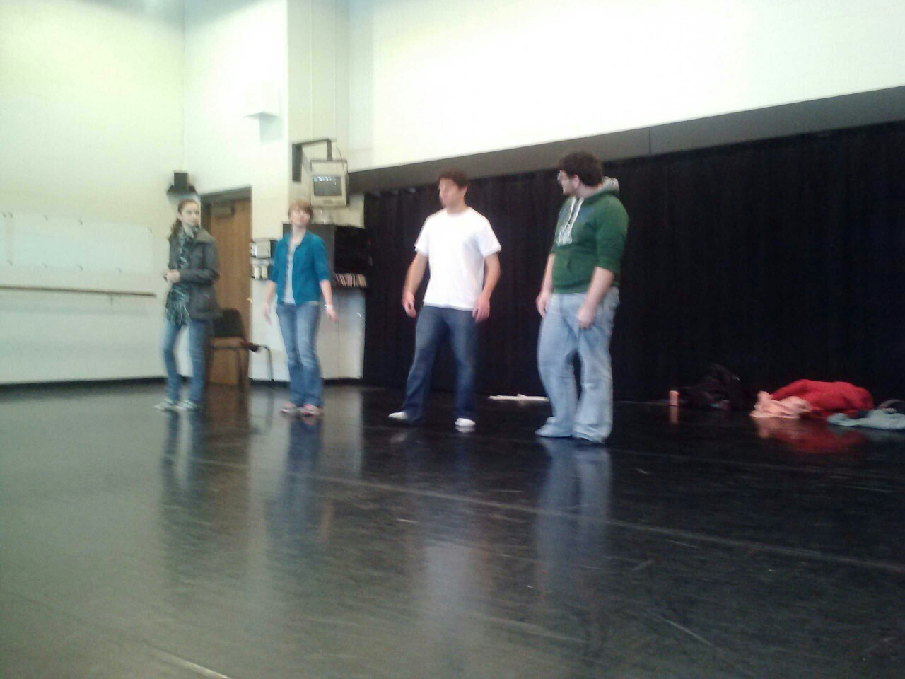 Improv rehearsal! We're rapping, but we're so white! Hilarity ensues!