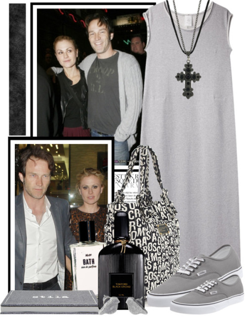 Anna Paquin and Stephen Moyer by queenrachietemplateaddict featuring a leather necklaceMaxi dress / Vans  sneaker / Marc by Marc Jacobs nylon handbag / Leather necklace / Fat Face stud earrings, $8.02 / Stila  / Tom Ford  / Bobbi Brown Cosmetics