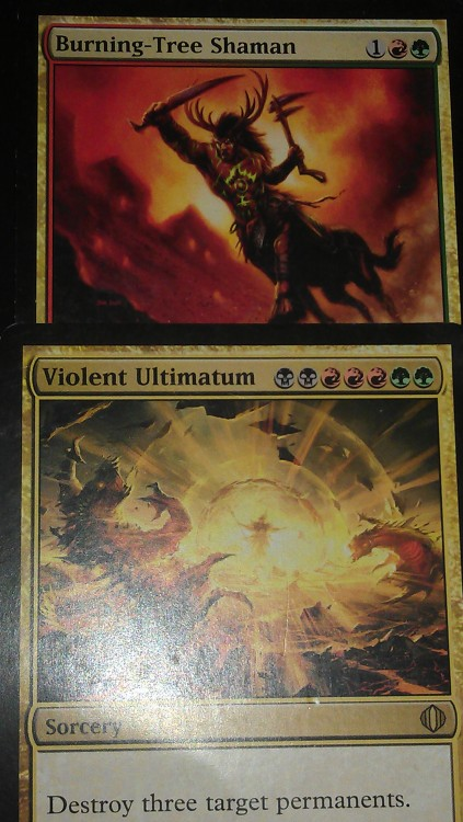 mtgfan:  manatapped submitted:   Calvin sent these along with older editions of a forest and mountain (which I have someone where in my lands box). The Shaman seems fitting since I'm a proud member of the Gruul Clans and the Violent Ultimatum due to the flavor text.