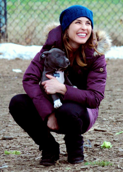 Noomi Rapace with the puppy Rocco on the set of Animal Rescue (March 26 | New York City)  cuteness lvl: 100000