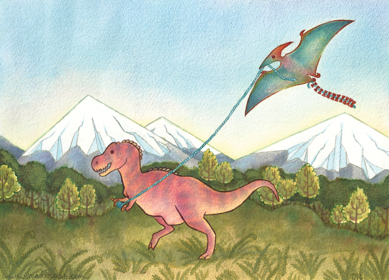 "cutinkles:  madiruss:  A new Derposaur, the Kiteodactyl! Noodler's Ink and gouache on 13 x 9 1/4"" Arches 300lb cold press, manipulated in photoshop  This started as an excuse to do a painting with a background. I think there were three different times that I thought I had ruined it irreparably forever, but I'm so happy it wasn't! I'm so happy it's finished though. This painting has been sitting around since last summer, ahhh it feels so great to be working through my queue of unfinished work. Wouldn't it be awesome if pterodactyls had pigmentation like parrots?  Yayyy new paintings!"