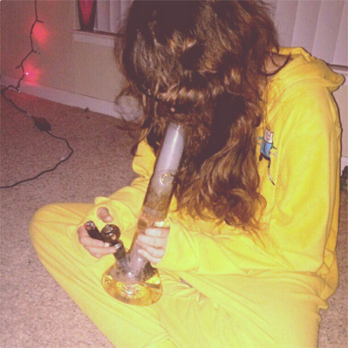Bong rips in the Jake onesie and crazy hair FTW