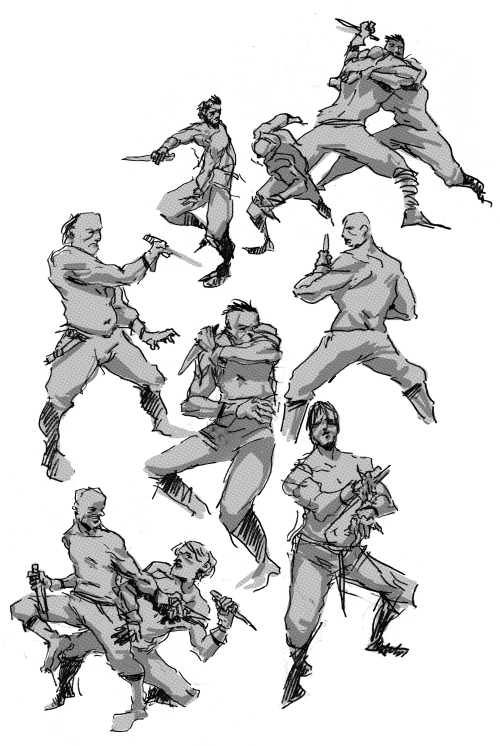 Listening to the Revengeance OST, drawing KNIFE FIGHTS!