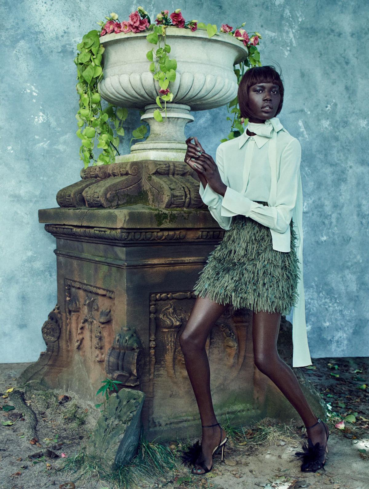 Earthly Delights - Ajak Deng For Elle UK December 2017