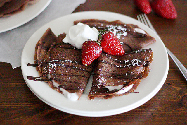 fattributes:  Dark Chocolate Crepes with Liberte Strawberry Yogurt