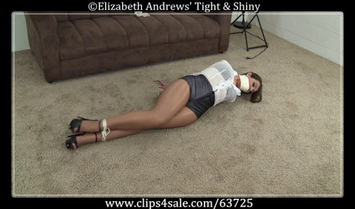 Struggling on the floor in tight, short disco shorts and shiny pantyhose - #bondage -  www.clips4sale.com/63725/8387249 - Elizabeth Andrews : Caught in Self Bondage