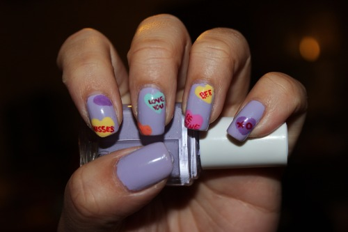 Inspired by Valentine's Day Message Candies using Essie's LilacismEnjoy! :)