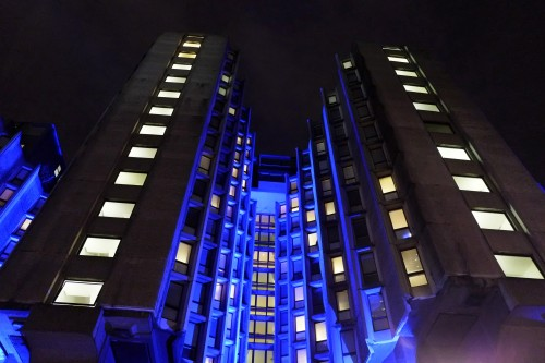 scavengedluxury:  St. Giles Hotel illuminated. London, December 2012.    Brutalist venues Joy Division played at, part 2.
