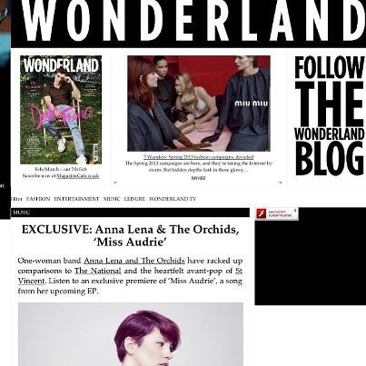 EXCLUSIVE stream of single number two; Miss Audrie featured on Wonderland Magazine !  http://www.wonderlandmagazine.com/2013/02/exclusive-anna-lena-the-orchids-miss-audrie/