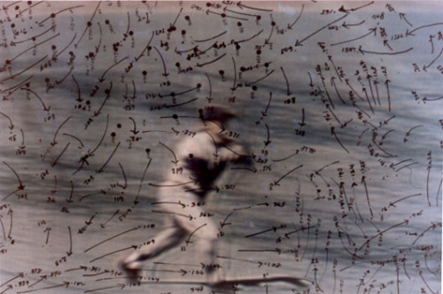 Howardena Pindell, Video Drawings: Baseball, 1973-1977, C-print (of video screen photograph with ink overlay) (via bluecatsredsox, notational)