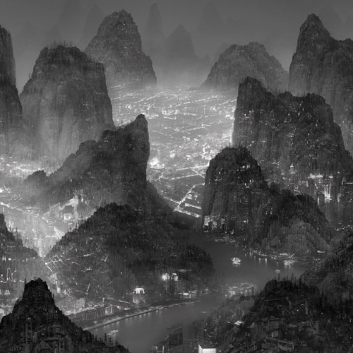 galiciaphoto:  Chinese artist Yang Yongliang is known for his sprawling photographic collages that depict the devastating effects of uncontrolled urbanisation and industrialisation. At a distance the works look like traditional Chinese painting and calligraphy but when viewed up close, the peaceful mountains and seascapes are found to be choked with buildings, factories, and machinery.