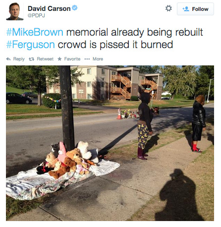 nowyoukno:  socialjusticekoolaid:  (9.23.14) — Another morning in Amerikkka. Somebody thought it would be fun to desecrate the Mike Brown Memorial early this morning. I… I really can't even. #staywoke #farfromover   Here's a picture of some cops watching the memorial burn although there seemed to be no police at the scene when the fire department arrived.