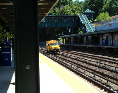Dobbs Ferry on Flickr. Via Flickr: A Road-Rail Vehicle passes through Dobbs Ferry in New York State, America, much to my amusement!