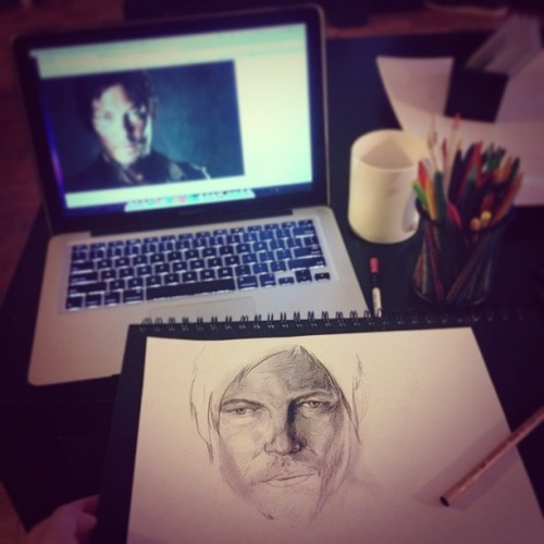 New portrait in the works! #art #portrait #daryldixon #normanreedus #pencil #sketch #sketchbook #pencil #wip #artists #artnerds