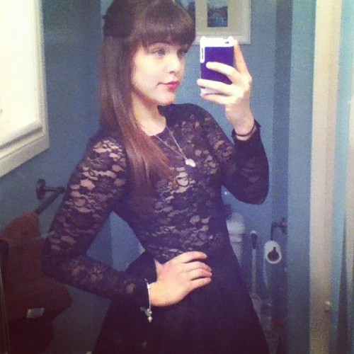 #bangs #ootd #skaterdress #dress #tobi #me #brunette #lace