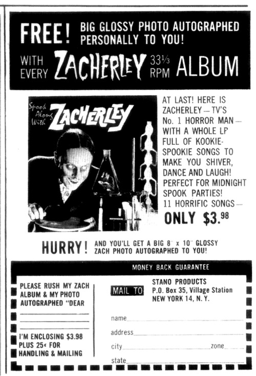 Ad for Zacherley's 1st LP from Famous Monsters (1960)