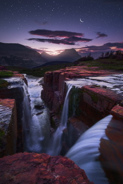 Triple Twilight; Glacier National Park, Alaska