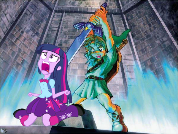 dramatichumantwilight:  I think Link doesn't like Equestria Girls…