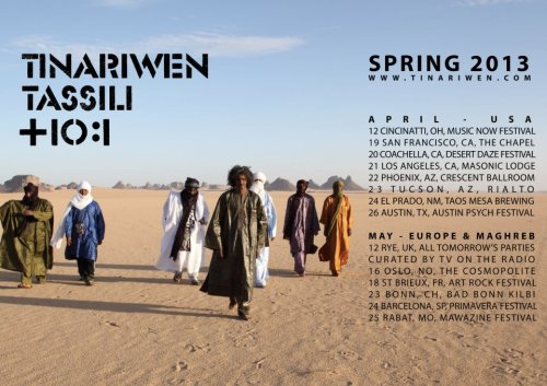 Tinariwen will be touring Europe and the Maghreb this May! africanmusicdiary:  Tinariwen Spring 2013 Tour Dates