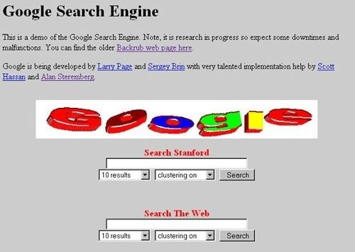 Original Google home page