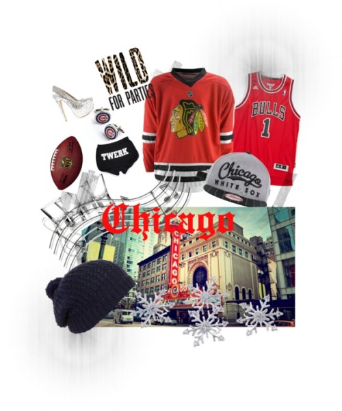 Chicago by loco-coco featuring a martini glassWhite shorts / Nly Shoes silver pumps, $54 / Diamond earrings / Linea hat, $23 / Music Notes metal wall art / Bormioli Rocco martini glass / adidas 'Chicago Bulls, Derrick Rose - Swingman' Jersey (Big Boys) / CUFFLINKS Chicago Cubs Cufflinks / Chicago Blackhawks / Chicago White Sox MLB Classic Script 2 9FIFTY Snapback Cap
