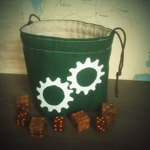 Another gear printed dice bag. This one is in dark green. Also available at Greyed Out.