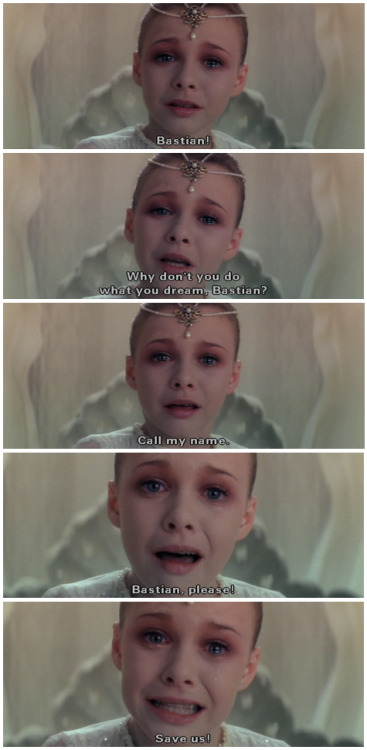 "Roots and Beginnings: The NeverEnding Story (dir. Wolfgang Petersen) Let's rattle some things off, why don't we? ""We're…allergic…to…youth."" ""Artax, you're sinking!"" ""It really is a racing snail!"" ""Confronted by their true selves, most men run away screaming!"" ""Come for me, Gmork! I am Atreyu!"" ""Call my name!"" The great temptation, the fatal temptation, of adult fans of fantastic fiction is the temptation of Law. We want the contents of our imagination taxonomied and classified, ordered and indexed, subject to rules and regulations. Gaps exist to be filled. Mysteries exist to be solved. Legends are just timelines that haven't been formalized yet. Fantastic fiction becomes a code to crack. It's a depressing state of affairs, not least because it can be traced directly to one of the most generous and unfettered imaginations in all of literature, the same imagination that gave this column its title: the imagination of J.R.R. Tolkien. Tolkien famously devised the entire history of Middle-earth and all the adventures that took place therein in order to give his imaginary alphabets and languages hands to be written with and voices to be spoken by. That he arrived at the single greatest act of world-building in fantasy history completely bass-ackwards should, one would think, serve as an instant warning light to fantasists who wish to put the cart before the horse, but you and I both know that hasn't been the case. A rigorous and road-tested encyclopedia-salesman approach to creating new worlds and new images to fill them is viewed as inherently superior to one in which the power of images and ideas comes first. It's like people really want to write a wiki, and have to come up with the pesky ""moving, powerful, imaginative literature"" stuff out of obligation. This kind of thinking has been used to pummel the shit out of tons of worthwhile fantastic literature, and not just in prose. I think anyone can take issue with the endings of Battlestar Galactica and Lost for any number of reasons — well, maybe more Lost than BSG — but to me the most dispiriting cause for outrage among the fandom was ""Magic?!?! BOOOOOOOO!"" As if either show had ever made a secret of its respective brand of mysticism; as if the unexplained was now somehow a synonym with the unexamined or unthoughtful or unworthy. Fantasy film, however, has dodged this bullet. Perhaps out of necessity: Until Peter Jackson and WETA proved it possible, the sheer scope and expense required to bring a world-building project like The Lord of the Rings to life was simply out of the genre's reach in cinematic terms. Now that it's possible, you can already start to see the worm turning, I'm afraid — in the vituperation directed at The Hobbit: An Unexpected Journey's more fanciful or whimsical aspects; in turning Star Wars into geekpleasing content factory even on film (it's been one in every other medium for years) where in the past it had always been the product and project of a single auteur, for better or for worse; in a Marvel movie universe that appears determined to leech the gonzo magic out of the House that Jack Built in a way that strong lead performances just can't compensate for. But for a while at least, in the '80s in particular, film fantasy was nothing more or less than a riot of ideas and images too big and weird and primal to be contained elsewhere. Nowhere was this more true than in Wolfgang Petersen's adaptation of Michael Ende's novel The NeverEnding Story. I led this piece with that list of quotes because, if you're like me, every single one of them called up an image, an actor, a creature, an environment, as powerfully as if you'd seen it five minutes ago. Chances are you haven't, though — I have not watched this film in…decades, maybe? But all of those lines linger, all of them move, all of them sting, all of them live. The Childlike Empress, the Rock-Biter, the Nothing, Falcor, Gmork, Atreyu, Bastian, the Oracle, Morla the Ancient One, Artax, the AURYN — none of these feel like they were peeled from a lengthy entry on the characteristics of a given species or race. They're all singular, and because they're all singular they suggest a world, a Fantasia, so vast and sprawling it's actually a little frightening. The NeverEnding Story counts on this fear, which is actually maybe better expressed as awe. Do you remember the chills you got as a child when Bastian screamed in alarm the moment Morla revealed his big old turtle self…and Morla and Atreyu heard him? This was probably the first time outside a Looney Tunes cartoon you'd seen a work of film narrative break the fourth wall (albeit a fourth wall within the larger world of the film, but whatever), and certainly the first time you'd seen it done with serious intent, and holy cow, wasn't it the most thrilling thing ever? To think that a reader or viewer had the power to connect with so big and wild a world…Wasn't the power invested in Bastian, the power to save a world that didn't exist, almost too much to bear, for you as well as him? How do you feel when the Childlike Empress stares right at Bastian/you and pleads for you to call her name? Why don't you do what you dream? I submit that the drive to classify everything, to treat fantasy of whatever stripe as a code to be cracked rather than a story to be told and told and told, is, like the great black wolf-thing Gmork, a servant of the power behind the Nothing. It leaves you with a single grain of sand. Imagine that grain in your hand. The imaginations we need to rebuild Fantasia are wild and unafraid. We need Love, not Law. ""The more wishes you make, the more magnificent Fantasia will become."""