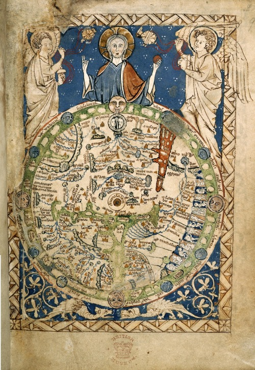 Map of the World, from the Westminster Psalter; probably a copy of the map that adorned Henry III's bed chamber. British Library; c.1265
