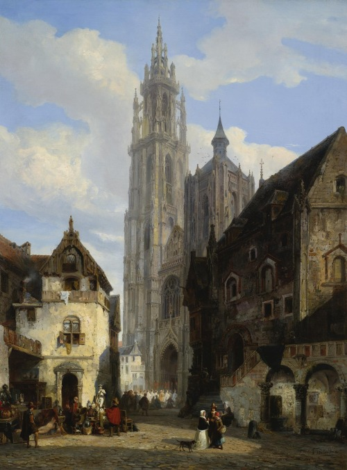 "arcadiaart:  Pierre Henri Théodore Tetar van Elven (1831-1908), ""The Cathedral of Our Lady, Antwerp""."