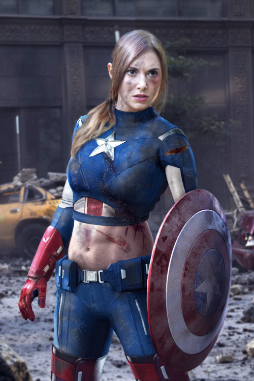 The most BAD ASS photoshopped image I've  ever seen. Community's Alison Brie as Captain America. (If Women Ruled the world: Female Avengers series) Source: http://fanartexhibit.wordpress.com