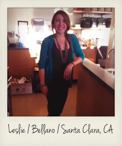 Leslie has worked at Bellano for about 6 years, since it was opened. We liked the cool colors of her necklace and sweater, both of which were gifts from her family. At first she wasn't thrilled with the idea of helping at her family's coffee shop, but that changed when Leslie (who now runs things with her sister) started to learn about specialty coffee. Judging by the many positive yelp reviews and happy people you can find sippin' lattes, looks like customers are excited about it, too. Check out the original Bellano in Santa Clara or the newer one, called B2, in downtown San Jose's San Pedro Square.
