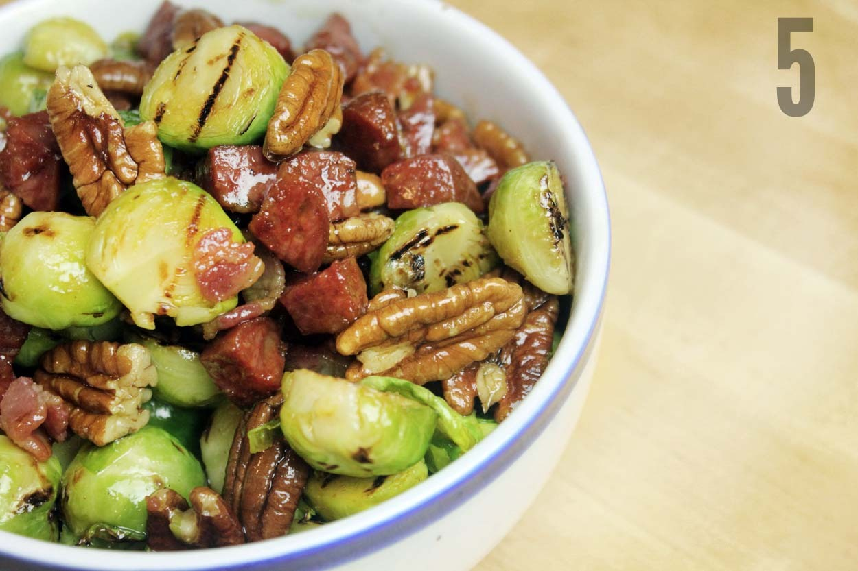 gocookyourself:  Bacon & Maple Syrup Sprouts Brussel Sprouts / Chorizo / Bacon / Pecans / Maple Syrup / Pepper (1) PLACE pan of water on boil and add pinch of salt SLICE bottoms off sprouts and remove outer leaves (2) CUT bacon into slices and chorizo into chunks THROW trimmed sprouts into boiling water BOIL for 8 minutes (3) FRY chorizo and bacon until browned (3) DRAIN sprouts  CUT sprouts in half (4) HEAT griddle pan TOSS pecans into chorizo and bacon mix INTRODUCE halved sprouts to the griddle pan SHAKE sprouts after a minute or so IGNORE for another minute MARRY sprouts with bacon, chorizo and pecans DRIZZLE maple syrup over sprouts (5) SERVE as part of your alternative Christmas menu GET the book on iTunes GO COOK YOURSELF