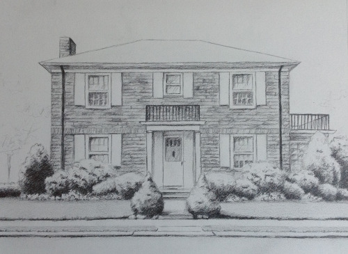 First commission for 2013. House portrait for client done in graphite.