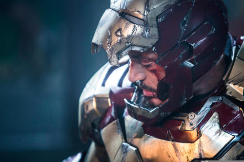 "Latest IRON MAN 3 Still Shows 'Tony Stark' Battered ""Marvel has just released a brand new still image from the highly-anticipated Shane Black-helmed Iron Man 3 action thriller. Featuring a closeup on billionaire Tony Stark (Robert Downey Jr.) suited up, seemingly after a heavy battle with one of the threequel's antagonists"" source (x)"