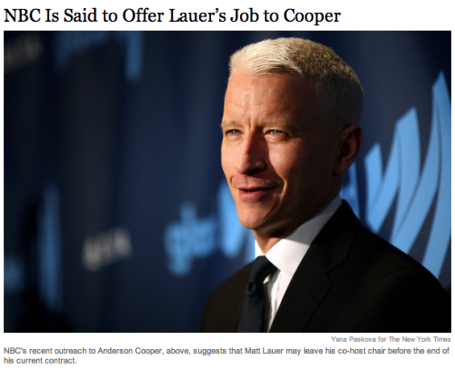 "Anderson Cooper, ""Today"" show host? Nope, he shot the offer down."