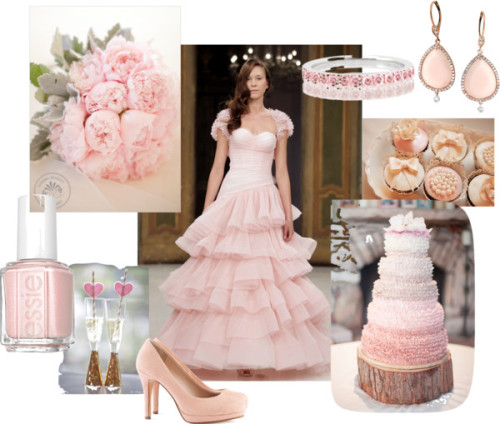 Pink Wedding! by lixiechick featuring essie nailpolishH&M suede pumps, $39 / Pink earrings / Essie  nailpolish