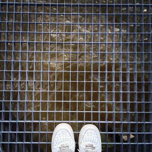 No • #nike #airforce1 #white #trainers #riverthames #water #dunbarwharf #riverside #thamespath #canaryriverside #eastlondon #londondocklands #england #greatbritain #unitedkingdom #sneakers #grille #steel #platform #ripples #down #spring #afternoon #6thMay #2012 #lofi #lux #st #thest  (at Dunbar Wharf)