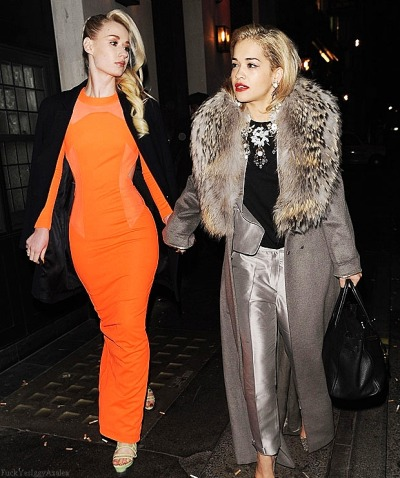 Iggy Azalea and Rita Ora out on Tuesday night before The 2013 Brit Awards in London…
