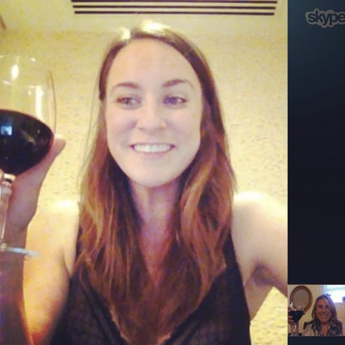 Afternoon vino & Skype sesh with @cait_elizabeth1 in Abu Dhabi…#NBD